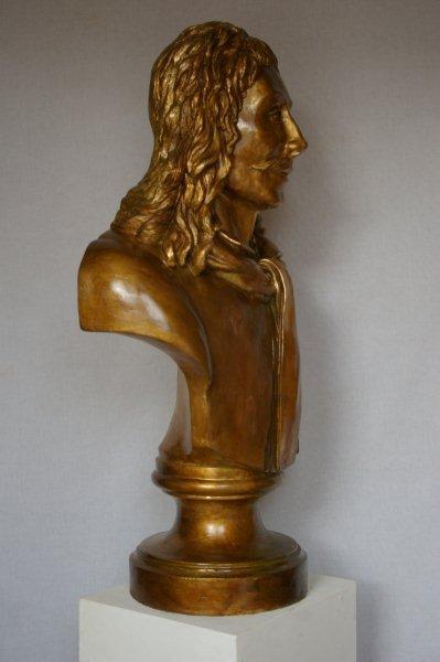 Portrait molière stuc patiné bronze 90 cm de haut